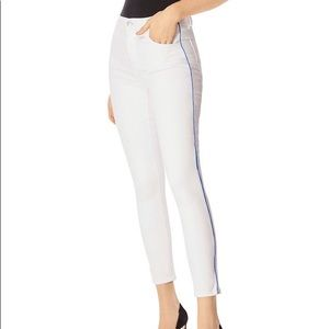 J Brand Alana High Rise Blue Piping White Jeans